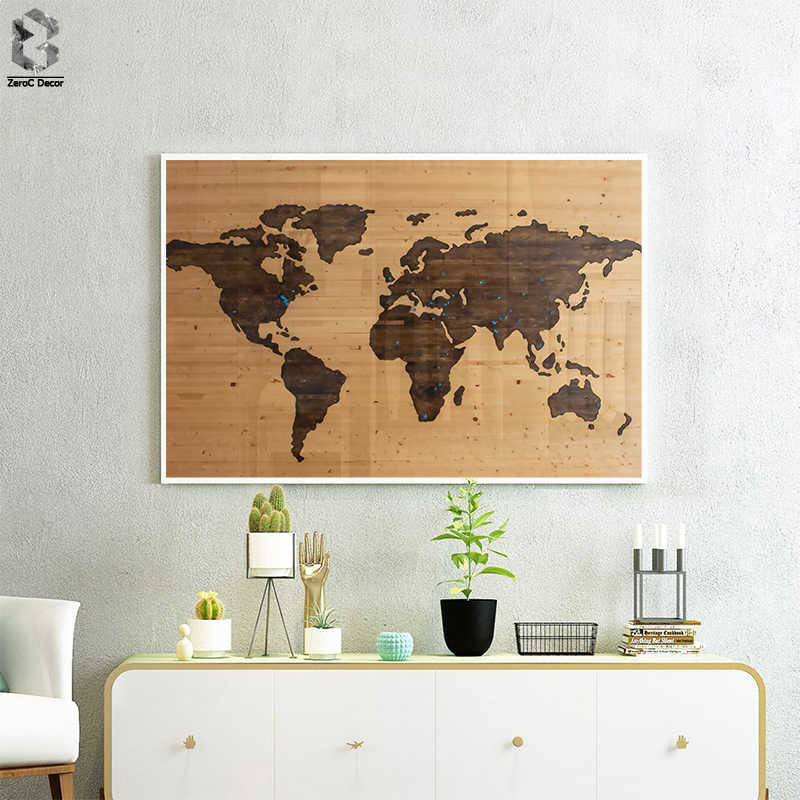 Vintage Wall Art Single Pieces World Map Wooden Background Canvas Print Picture Living Room Home Decor Poster Painting