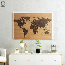 Vintage Wall Art Single Pieces World Map Wooden Background Canvas Print Picture Living Room Home Decor Poster Painting(China)