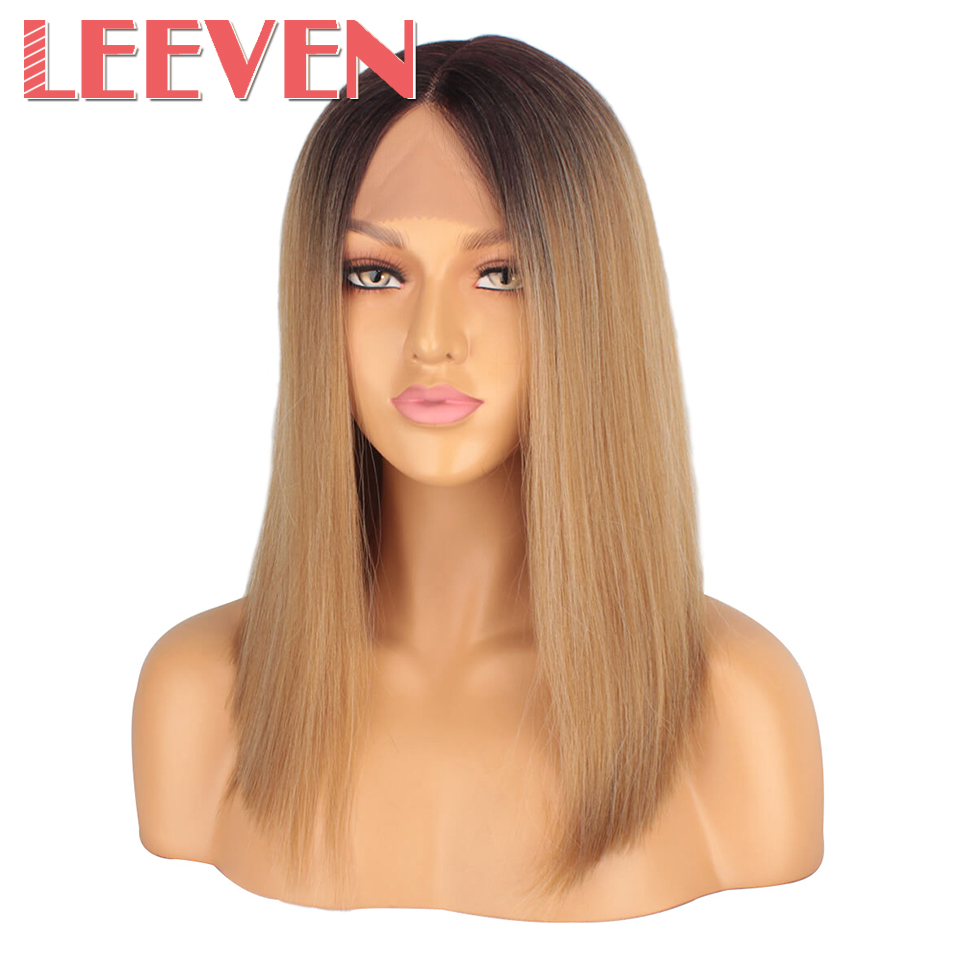 Leeven Hair 14inch Synthetic Lace Front Wig Short Straight Bob Wigs For Woman Black Brown Classic Middel Part Free Shipping