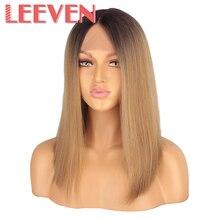 Leeven Peluca de pelo sintético con malla Frontal para mujer, peluca de pelo de 14 pulgadas con malla Frontal recta corta, color negro, marrón, parte central clásica, peluca de encaje Frontal