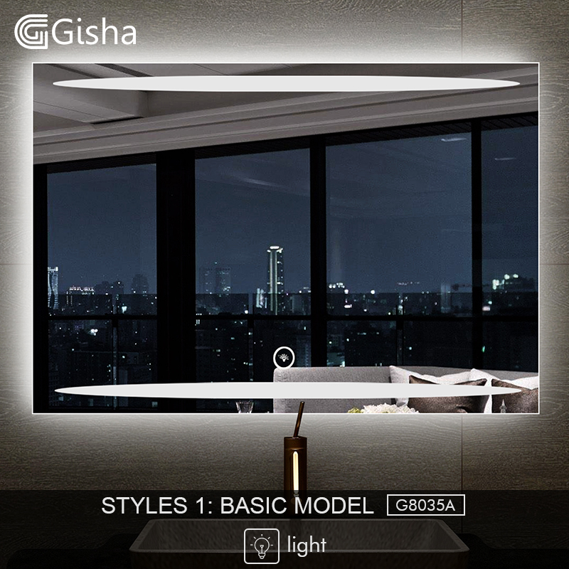 Gisha Smart Mirror Led Bathroom Mirror Wall Bathroom Mirror Bathroom Toilet Anti-fog Mirror With Touch Screen Bluetooth G8028 Home Improvement
