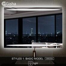 Gisha смарт-зеркало светодиодный ванная комната зеркало для ванной комнаты ванная туалет анти-противотуманное зеркало с Bluetooth Сенсорный экран G8035