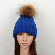 winter warm  knitted raccoon fur ball crochet hat skull cap ribbed geniune natural real raccoon fur pompon beanies hat women