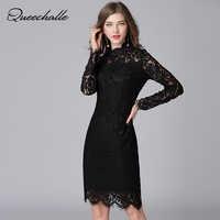 Schwarz Farbe Spitzenkleid 2017 Frühling Herbst Sexy Aushöhlen Langarm Frauen Kleider 5XL Plus Größe Mantel Ein-stück Vestidos