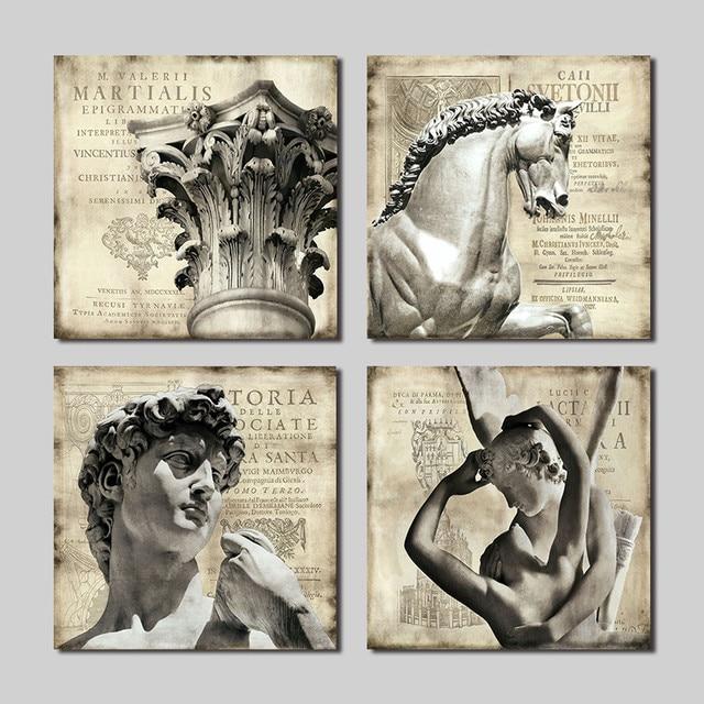 4 PCS Art Classic Living Room Decoration Statue Stone Angel Horse Pillars Canvas Painting Wall