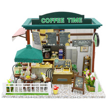 Doll House Miniature Diy Dollhouse With Furnitures Wooden Coffee Time Shop Toys For Children Girls Birthday Christmas Gi