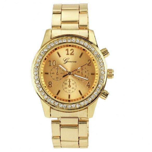 383759a7c New 2015 Reloj Mujer Oro Lujo Caliente Watches Stainless Steel Geneva  Zegarek Luxury Damske Hodinky Casual Montres De Femmes