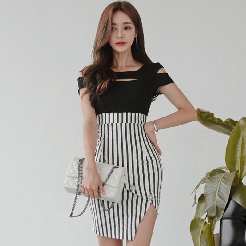 2018 Summer Hollow Out Patchwork Sexy Women Cloth High Waist Mini Bodycon Striped Vestidos Irregular Club Dress