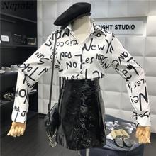 Neploe 2019 verano nueva moda Graffiti cartas mujeres Blusas Cuello estilo  Preppy Blusa de manga larga 69818 4ffc4393a9c7