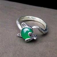 925 pure silver Thai silver green yellow red corundum gem fox opening ring
