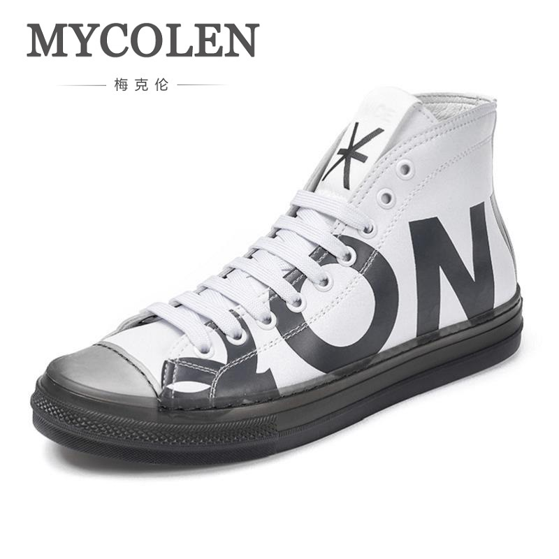 MYCOLEN 2018 Spring Autumn New Fashion Men Flat Shoes High-Top Tide Canvas Men's Flats Shoes Popular Comfortable Sneakers 2017 new spring autumn men casual shoes breathable black high top lace up canvas shoes espadrilles fashion white men s flats