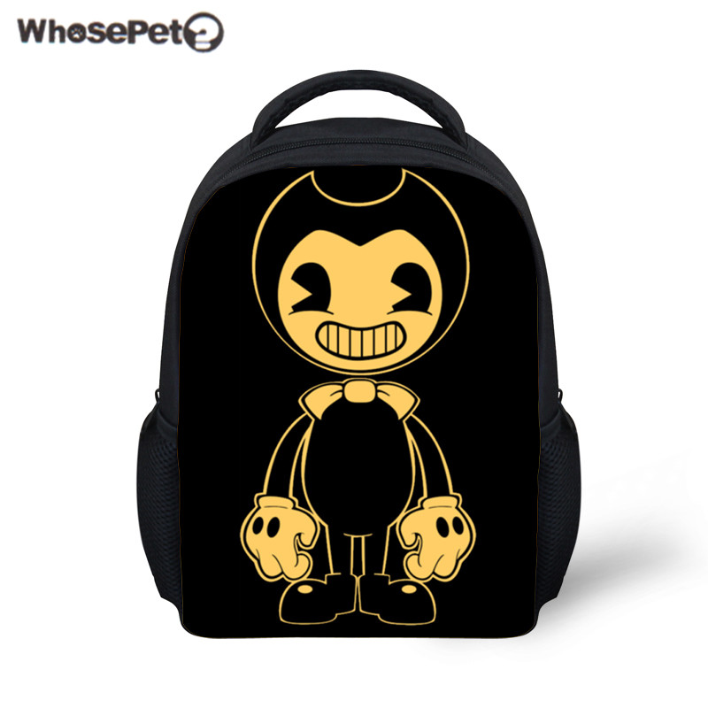 WHOSEPET Mini School Bag Bendy and The Ink Machine School Backpack for Kids 12 Inch Schoolbag Boys Girls Rucksack Mochila Bolsa