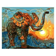 Frameless Digital Oil Painting 3D DIY Abstract Canvas Wall Art Picture Set Elephant Coloring By Numbers