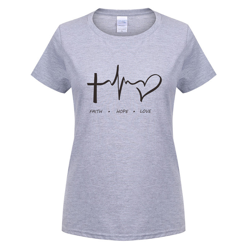 9a98d4c0458d New Summer Women T Shirt Faith Hope Love Christian T shirt Funny  christianity god tee Gift Woman Short Sleeve Cotton Tops OT 620-in T-Shirts  from Women's ...