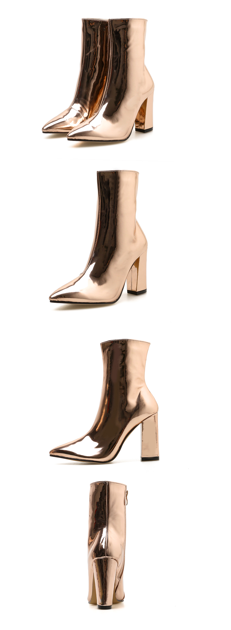 metalic gold ankle boots