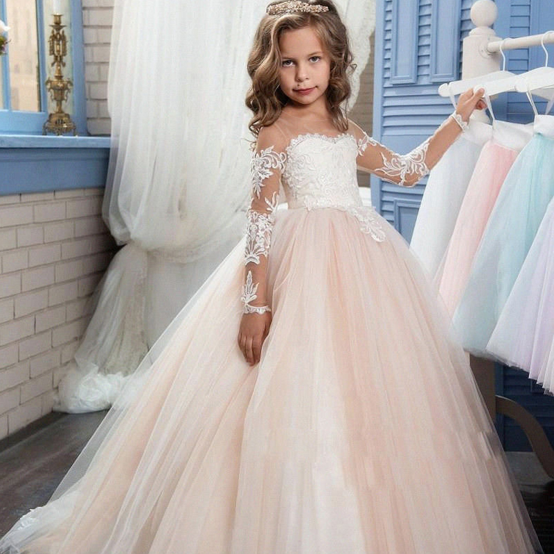 Elegnat Long Slim Sweet Princess Lace Embroidery Girl Dress Dresses Summer 2017 Flower Girl Dress For Prom Party And Wedding P39 girl lace long dress with sweet flower for age 3 7 baby kids princess wedding prom party white cream big bow long sleeves dress