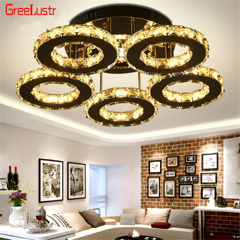 5 Rings Crystal Led Chandeliers Ceiling Mirror Stainless Steel Lustre Cristal For Kitchen Study Luminarias Para