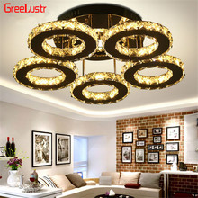 5 Rings Crystal Led Chandeliers Ceiling Mirror Stainless Steel Lustre Cristal For Kitchen Study Luminarias Para Teto Fixtures