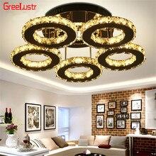 5 anelli di Cristallo Led Lampadari A Soffitto In Acciaio Inox A Specchio Lustro Cristal Per Studio Cucina Luminarias Para Teto Apparecchi