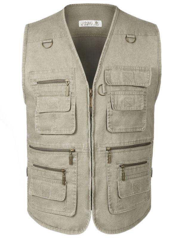 Men's Denim Vest Jean Sleeveless Jacket Waistcoat Plus Size With Many Pockets