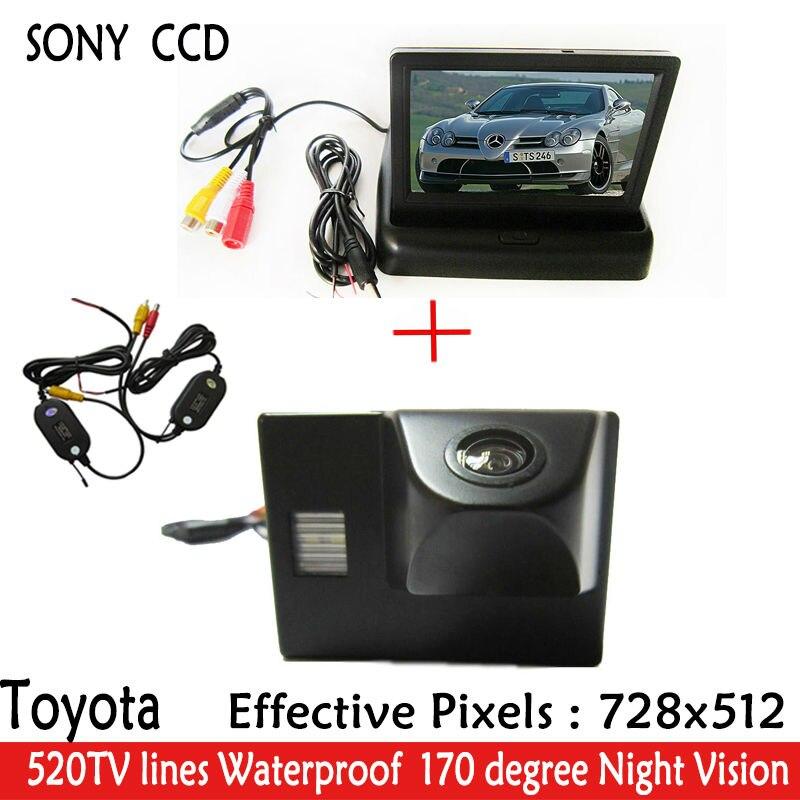 Sans fil 4.3 'voiture rétroviseur pliable moniteur + CCD HD LED Vision nocturne 170 voiture vue arrière caméra pour TOYOTA Land Cruiser LC