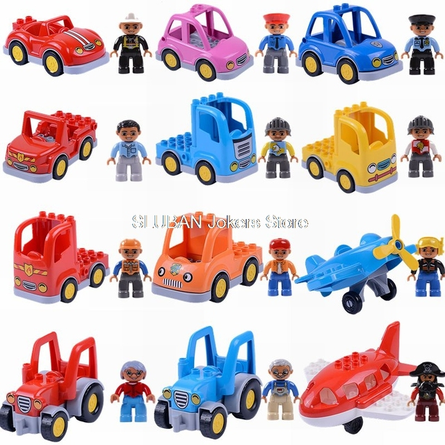 Compatible for Duplo Car Transportation Helicopter Toys for Children Building Blocks  City Police Figures Animal