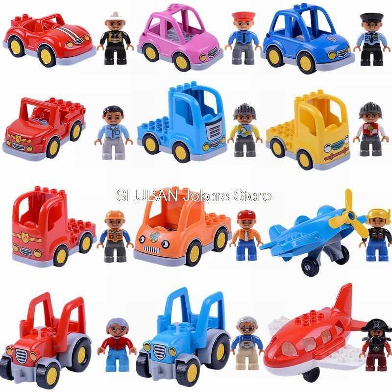 Legoing Duplo автомобиль большой размер транспорт Вертолет игрушки для детей строительные блоки Legoing город полиции фигурки животных модель