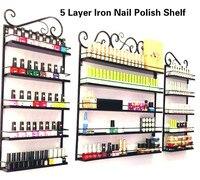 3Pcs/Set Iron Nail Polish Shelf 5 Layers Nail Shop Exhibition Shelf Nail Polish Display Wall Rack Makeup Organizer 2 Colors