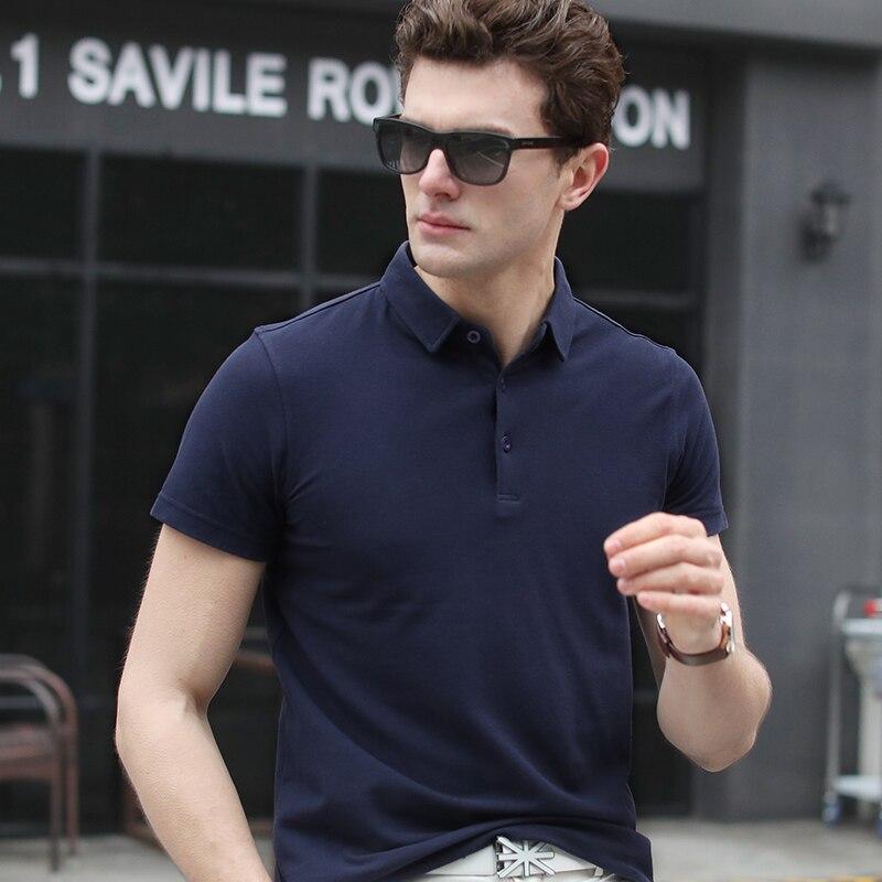Hot selling mens summer 100% cotton t shirt turn down collar plain Short Sleeve shirt for men