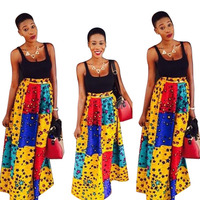African Clothes Dashiki Stars Print Skirt and Black Top for Women Bazin Riche 2 Pieces Skirts Sets Women African Clothing