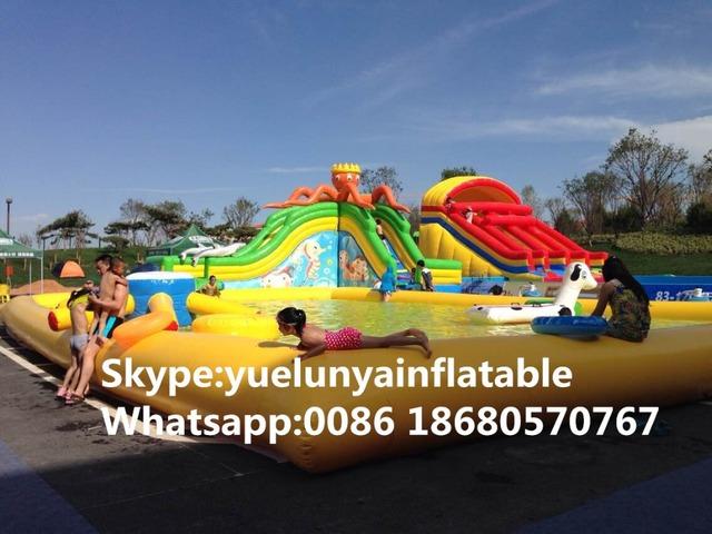 Direto da fábrica castelo inflável slides Piscina slide, Polvo grande parque aquático lâmina de água KY-712