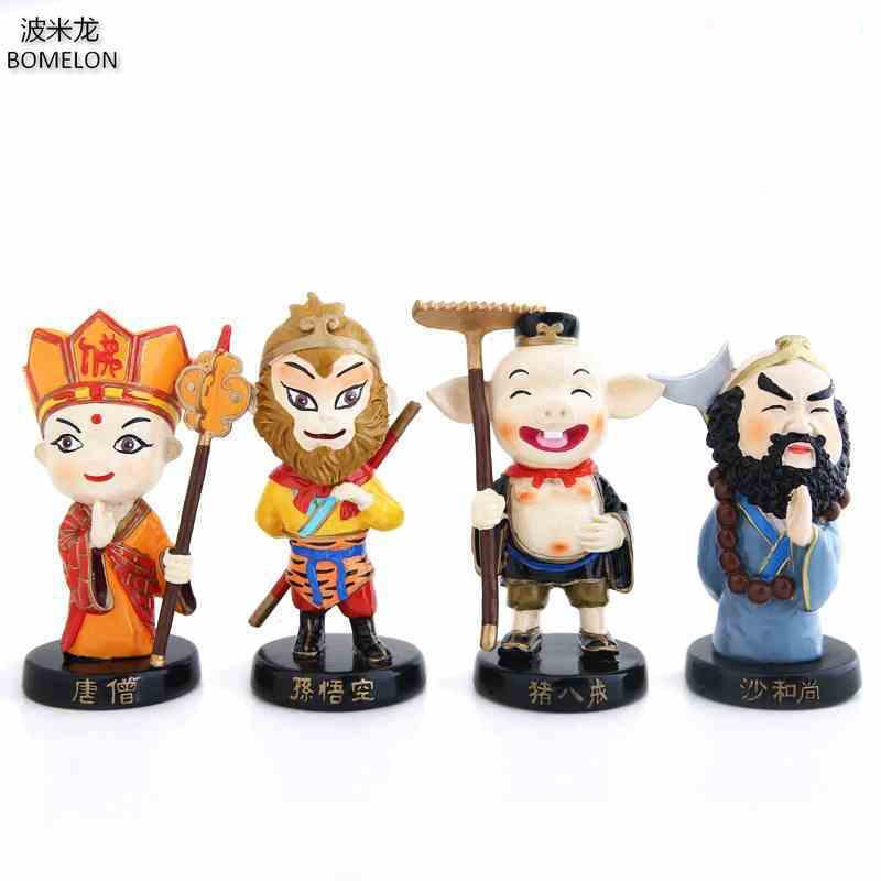 4 PCS / set Journey To The West Kawaii Mini Résine Poupée Tang Moine / Roi Singe Original Design Chine Ethnique Poupées Enfants Garçons Jouets