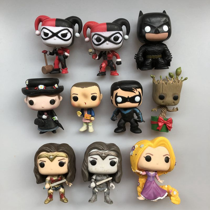 Original Funko pop Used Nightwing Knight Batman Mary Eleven Wonder Woman Rapunzel Vinyl Action Figure Collectible Model Toy Собака