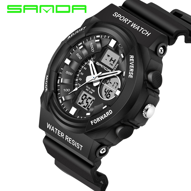SANDA Fashion Sport Watch Men Electronic Digital LED Quartz Watches Men's Wristwatch Shockproof Waterproof Relogio Masculino weide popular brand new fashion digital led watch men waterproof sport watches man white dial stainless steel relogio masculino