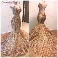 Золото блестками африканские платья для выпускного вечера 2019 плюс Размеры Холтер 3D Цветочный Цветы Сексуальная спинки элегантные вечерние