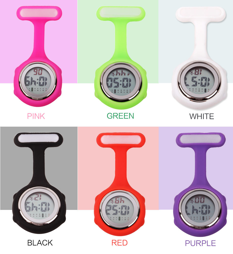 Relogio Reloj  Fob Nurse Brooch Pin Hang Pocket Electric Watch  Digital Display Dial Clip-On Pocket Watch Watches