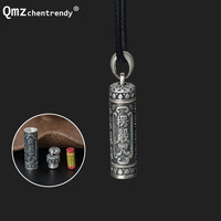 925 Sterling Silver Tibet Buddhism Surangama Mantra Pendants Necklaces Sanskrit Amulet Necklaces Storage Case Urn Ashes Jewelry