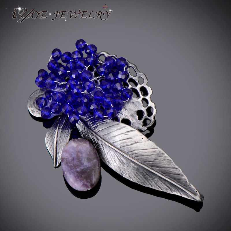 IYOE สไตล์โมเดิร์นโลหะโบราณหินธรรมชาติเข็มกลัด Pins อุปกรณ์เสริม Royal Blue ลูกปัด Vintage เข็มกลัดผู้หญิงเครื่องประดับ Boho