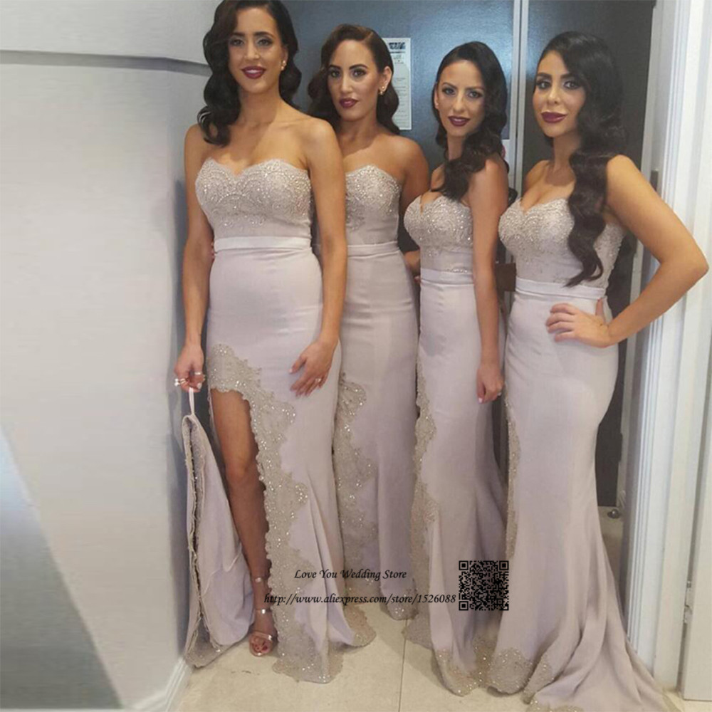 Online get cheap long lace bridesmaid dresses silver aliexpress silver sexy mermaid bridesmaid dresses lace long african wedding guest party dress split beaded robe fille ombrellifo Choice Image