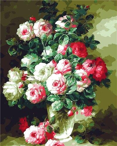 Aliexpress Buy Pink Flower Vase Carnation Spring Oil Painting