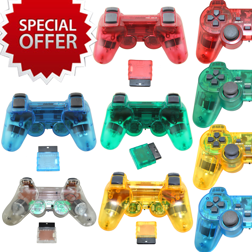 5 transparent colors for sony for ps2 font b Wireless b font Game Controller 2 4G