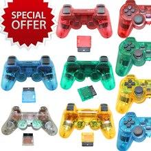 5 colores transparentes de sony para ps2 controlador de juegos inalámbrico 2.4g joystick gamepad para playstation 2 para ps 2 vibración