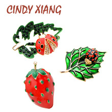 CINDY XIANG New Arrival Ladybug Brooches for Women Cute Bug and Leaf Design Strawberry Pins Vivid Insect Jewelry Brooch Kids