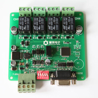 Free Shipping Two Serial RS232 RS485 Isolation 4 Channel PC Serial Port Control Relay Module With