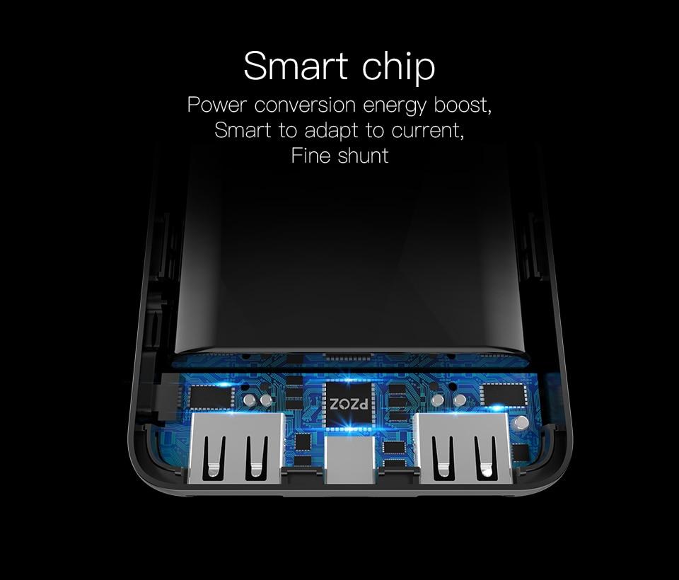 PZOZ Power Bank 10000mAh Dual USB Mobile Phone External Battery Fast Charge For iphone xiaomi mi Portable Charger mini PowerBank 12