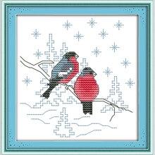 Joy sunday animal style Two red birds cross stitch pattern k