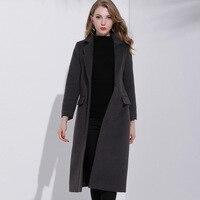 Double Side Woolen Coat For Women 2018 Elegant Single Breasted Wool Trench Coats Extra Long Slim Fit Ladies Grey Wool Coat