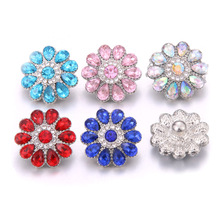 New 10pcs/lot High Quality Snap Button Jewelry DIY Crystal Rhinestone Flower 18mm 20mm Metal snap Buttons Fit Snaps Bracelet 6pcs lot 2019 new snap jewelry mixed colorful rhinestone crystal 18mm snap button jewelry fit snap bracelet diy charms jewelry