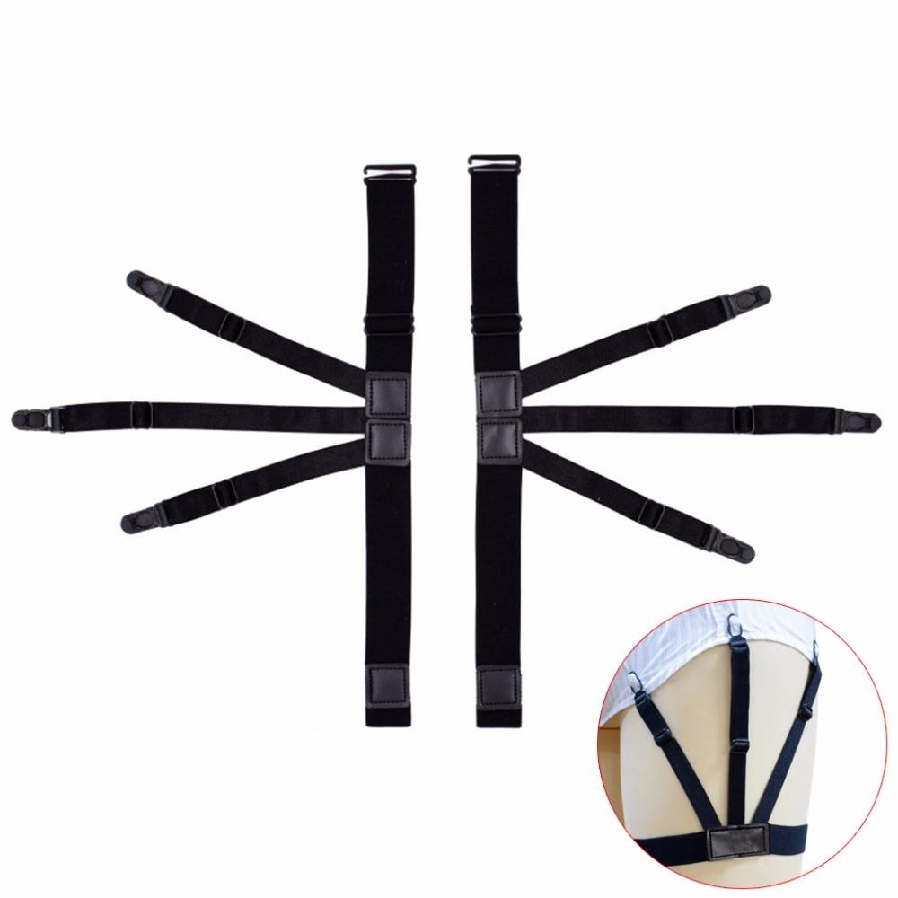 2Pcs/Set Elastic Leg Suspenders Black New Plastic Locking Clamps Shirt Stays Holder Straps Belt Adjustable Elastic