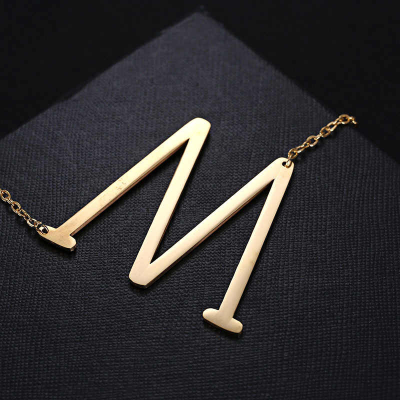 2019 New Classcial Stainless Steel Gold Silver Color A-Z Letter Initial Necklaces For Women Letter Pendant Necklace Jewelry